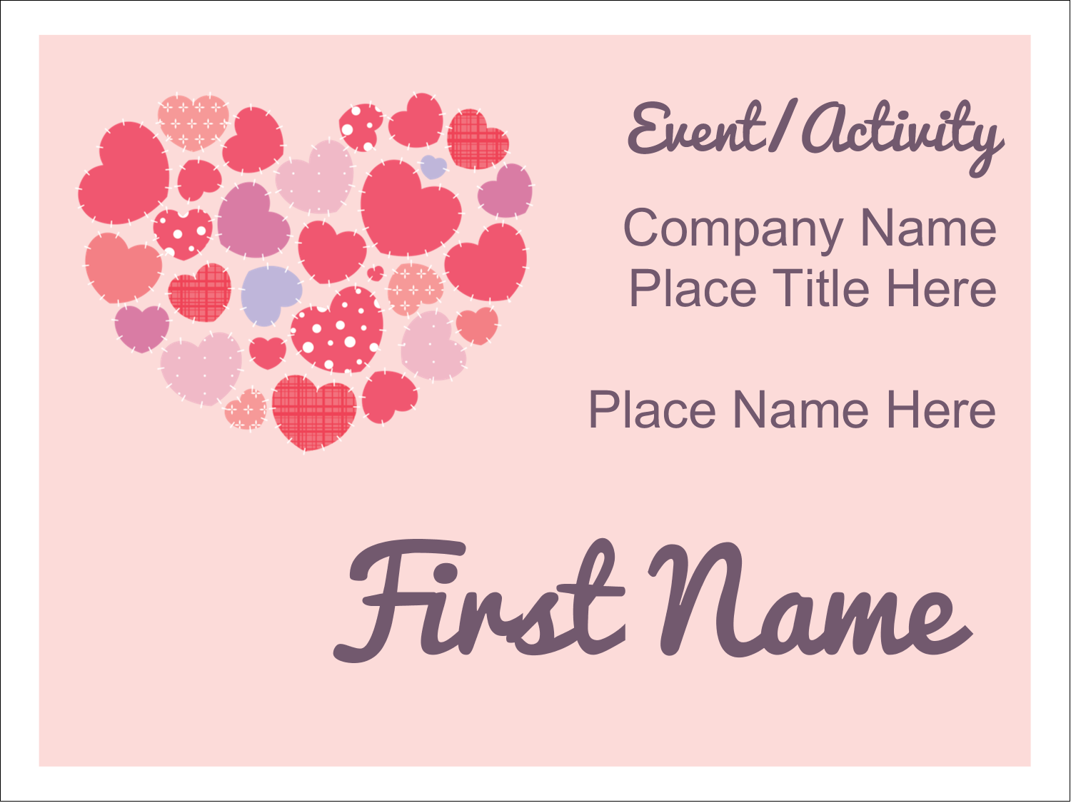 "3"" x 4"" Name Tags - Heart Quilt"