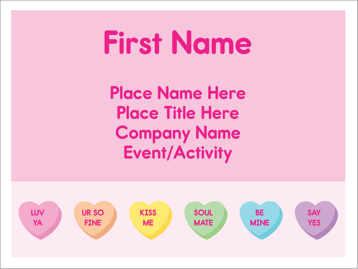 "3"" x 4"" Name Tags - Valentine Heart Candy"