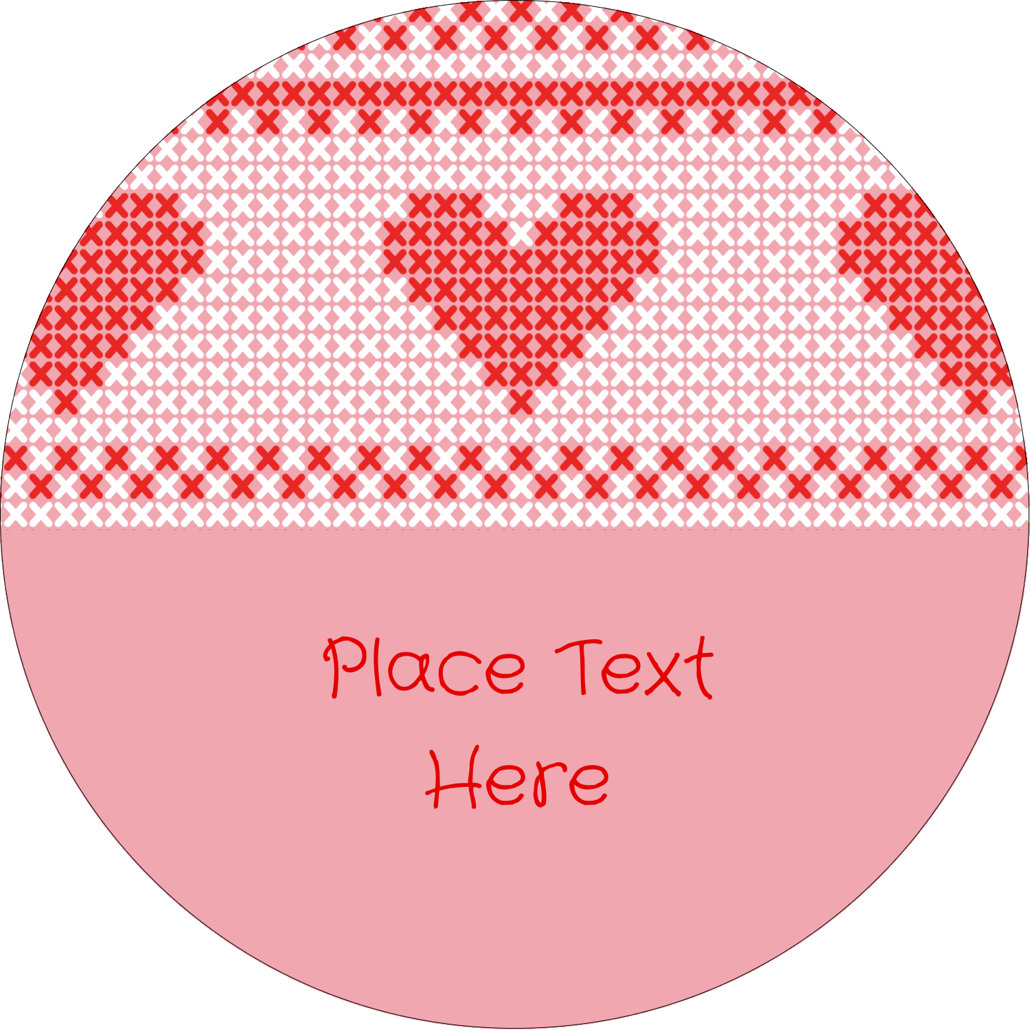 "1½"" Round Label - Valentine Cross Stitch"