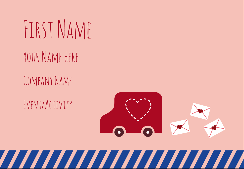 "3⅜"" x 2⅓"" Name Badge - Valentine Mail"
