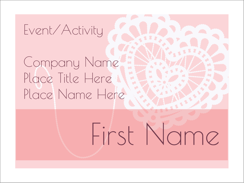 "3"" x 4"" Name Tags - Valentine Crochet"