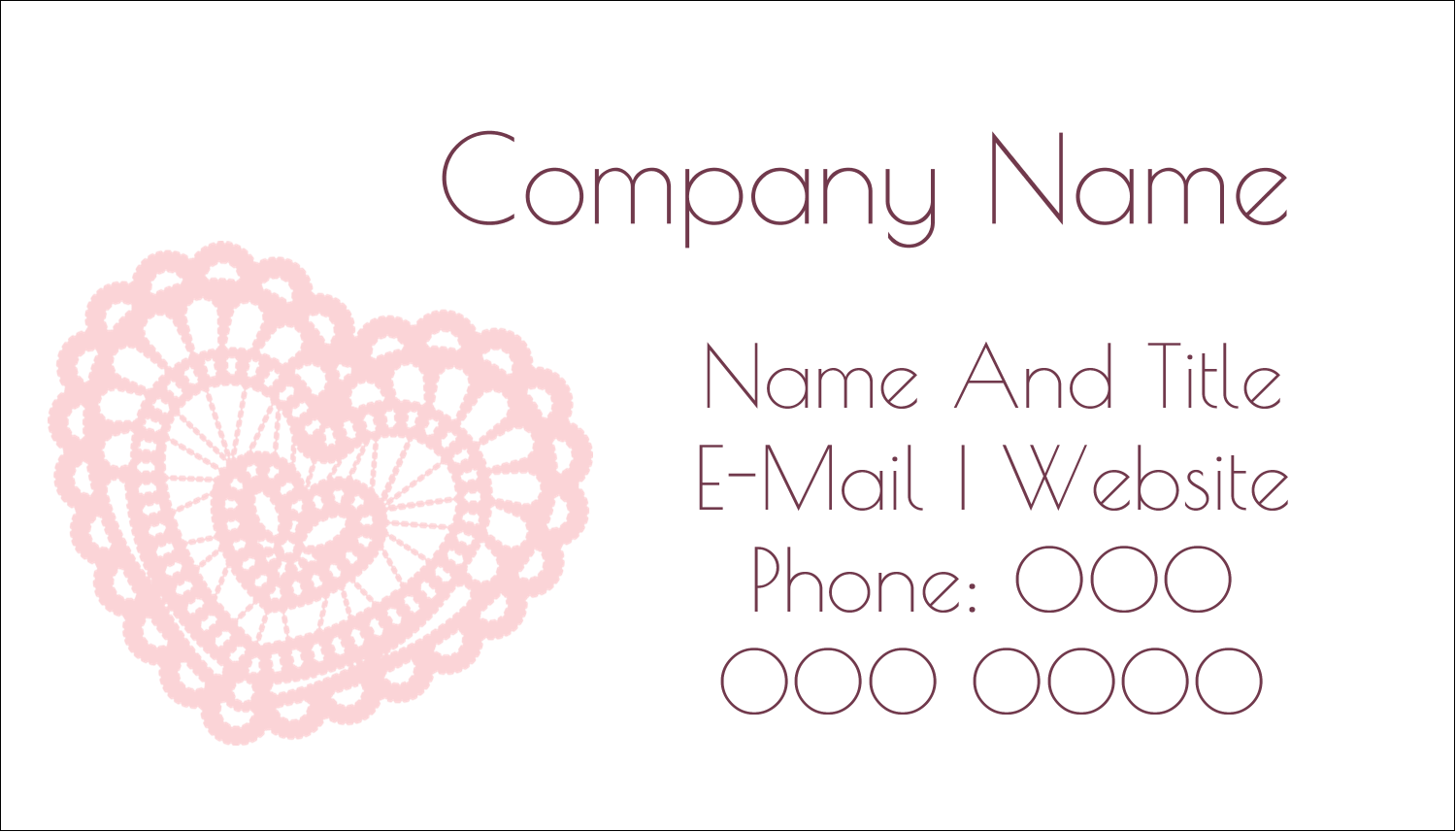 "2"" x 3½"" Business Card - Valentine Crochet"
