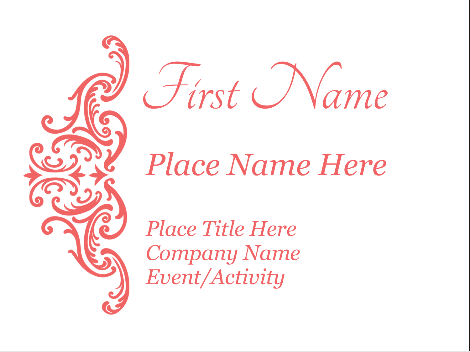"3"" x 4"" Name Tags - Wedding Elegance"