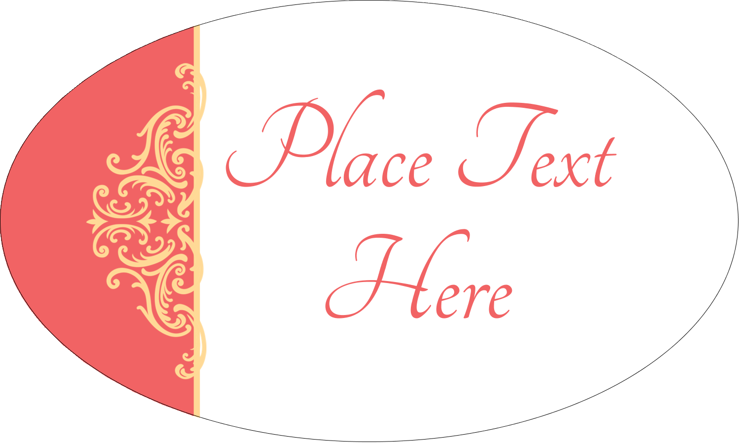 "1½"" x 2½"" Oval Glossy Label - Wedding Elegance"