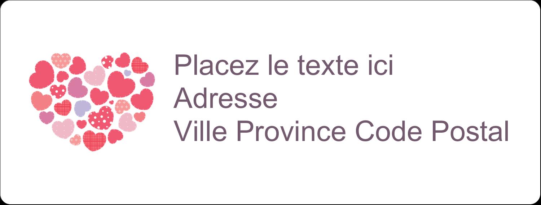 """1"""" x 4"""" Étiquettes d'adresse - Courtepointe en cœur"""