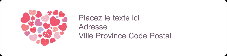 """1⅓"""" x 4"""" Étiquettes d'adresse - Courtepointe en cœur"""