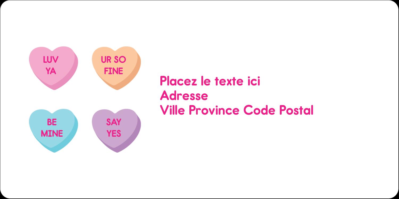 """3-7/16"""" x ⅔"""" Étiquettes de classement écologiques - Bonbon en cœur de Saint-Valentin"""