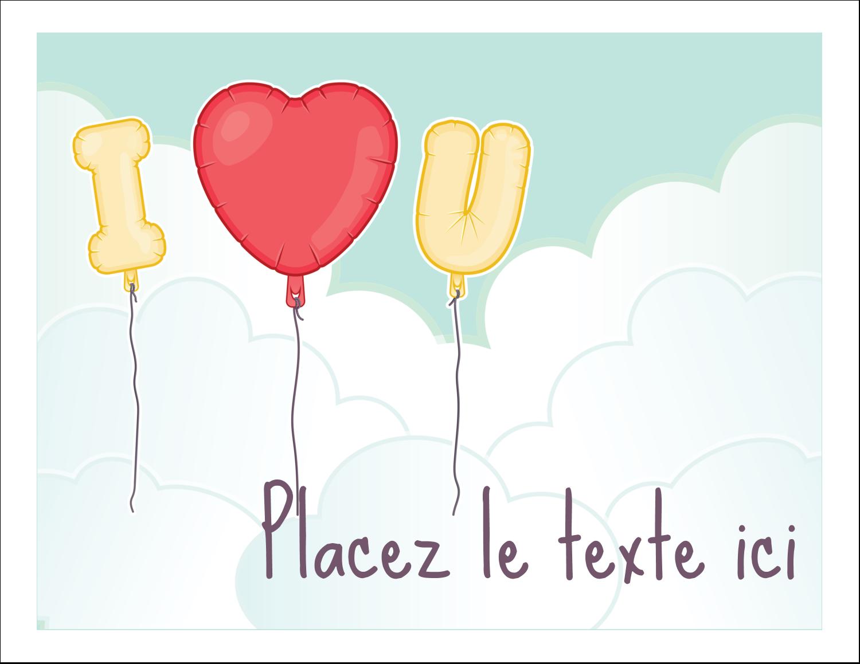 """8½"""" x 11"""" Cartes Et Articles D'Artisanat Imprimables - Ballon d'amour de Saint-Valentin"""
