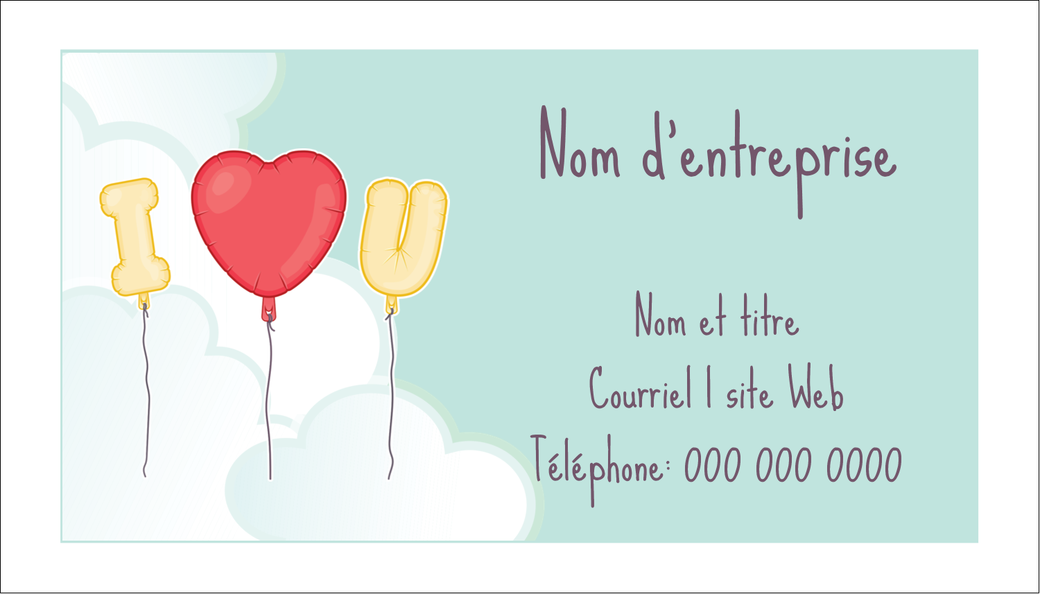"2"" x 3½"" Carte d'affaire - Ballon d'amour de Saint-Valentin"