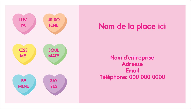 """2"""" x 3½"""" Carte d'affaire - Bonbon en cœur de Saint-Valentin"""