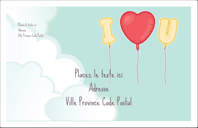 """1½"""" x 4"""" Étiquettes d'adresse - Ballon d'amour de Saint-Valentin"""