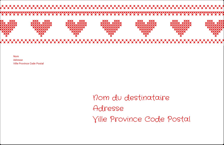 """1½"""" x 4"""" Étiquettes d'adresse - Saint-Valentin en point de croix"""