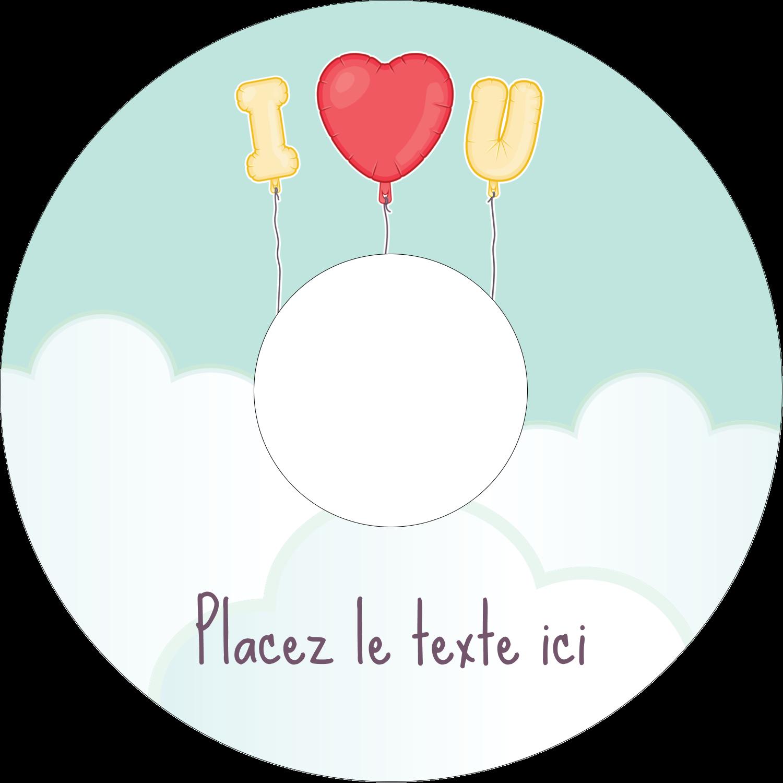 """⅔"""" x 3-7/16"""" Étiquettes de classement - Ballon d'amour de Saint-Valentin"""