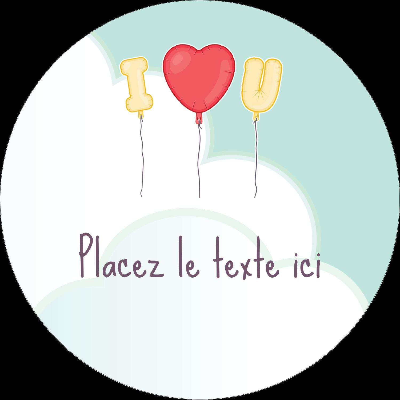 """2¼"""" x ¾"""" Étiquettes Voyantes - Ballon d'amour de Saint-Valentin"""