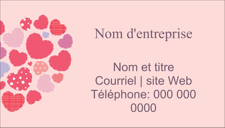 """2"""" x 3½"""" Carte d'affaire - Courtepointe en cœur"""