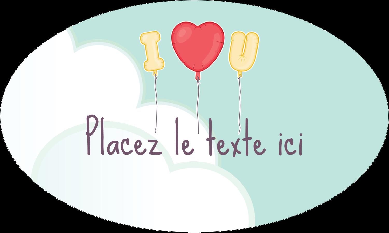 """1½"""" x 1½"""" Étiquettes carrées - Ballon d'amour de Saint-Valentin"""
