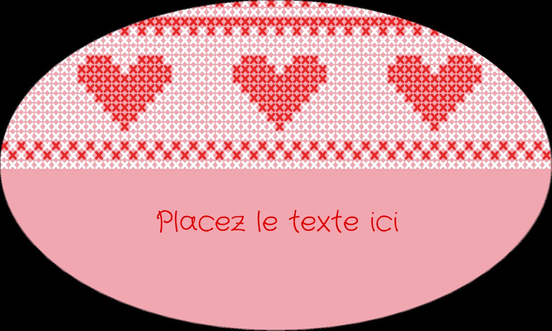 """1½"""" x 1½"""" Étiquettes carrées - Saint-Valentin en point de croix"""