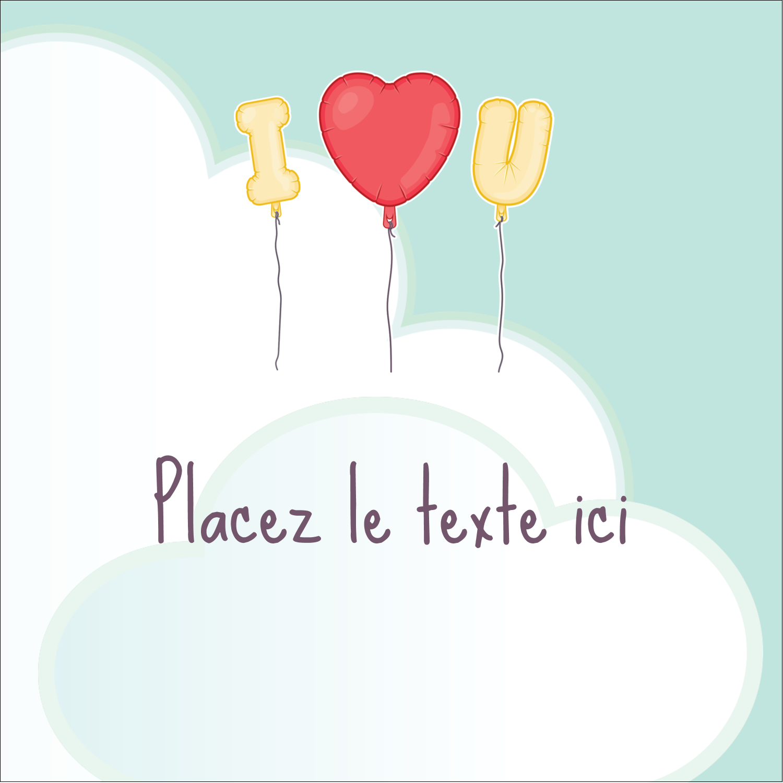 """2"""" x 2"""" Étiquettes carrées - Ballon d'amour de Saint-Valentin"""