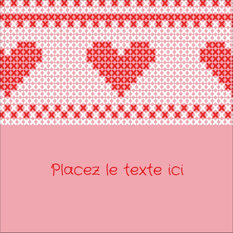 """2"""" x 2"""" Étiquettes carrées - Saint-Valentin en point de croix"""