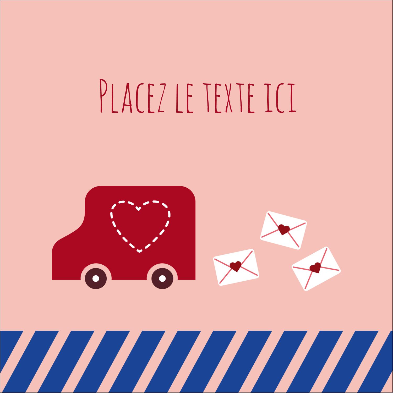 """2"""" x 2"""" Étiquettes carrées - Saint-Valentin par la poste"""
