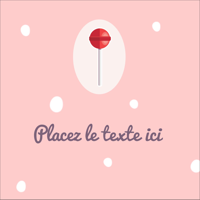 """2"""" x 2"""" Étiquettes carrées - Sucette de Saint-Valentin"""