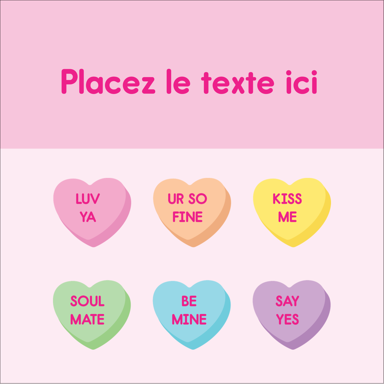"""2"""" x 2"""" Étiquettes carrées - Bonbon en cœur de Saint-Valentin"""