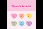 Bonbon en cœur de Saint-Valentin Étiquettes carrées - gabarit prédéfini. <br/>Utilisez notre logiciel Avery Design & Print Online pour personnaliser facilement la conception.