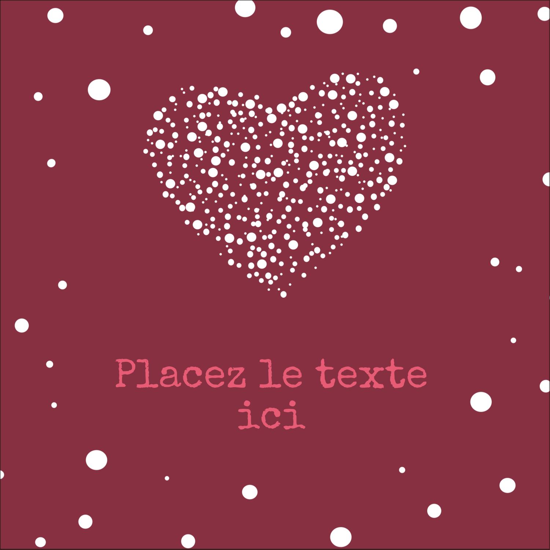 """2"""" x 2"""" Étiquettes carrées - Amas en cœur"""