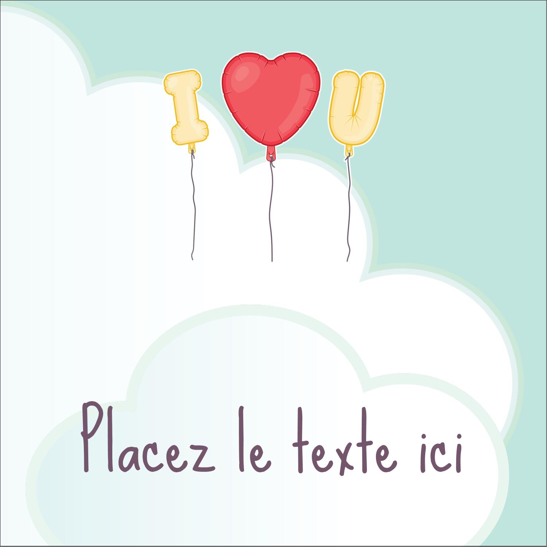 """2"""" Diameter Étiquettes rondes - Ballon d'amour de Saint-Valentin"""