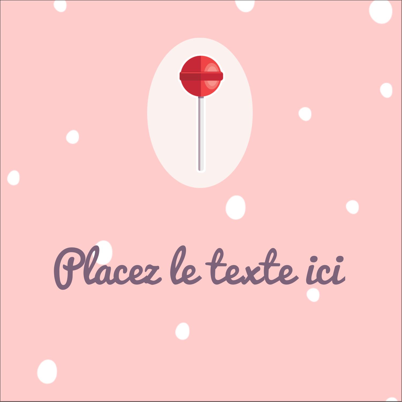 """2"""" Diameter Étiquettes rondes - Sucette de Saint-Valentin"""