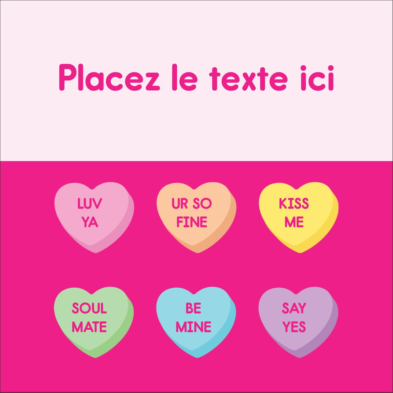 """9¾"""" x 1¼"""" Étiquettes enveloppantes - Bonbon en cœur de Saint-Valentin"""