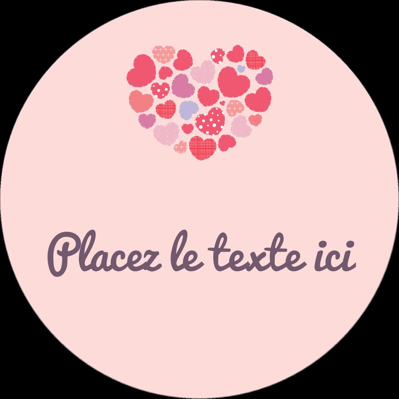 """2½"""" Diameter Étiquettes rondes - Courtepointe en cœur"""