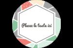 Mosaïque tangram rose et verte  Étiquettes arrondies - gabarit prédéfini. <br/>Utilisez notre logiciel Avery Design & Print Online pour personnaliser facilement la conception.