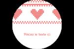 Saint-Valentin en point de croix Étiquettes arrondies - gabarit prédéfini. <br/>Utilisez notre logiciel Avery Design & Print Online pour personnaliser facilement la conception.