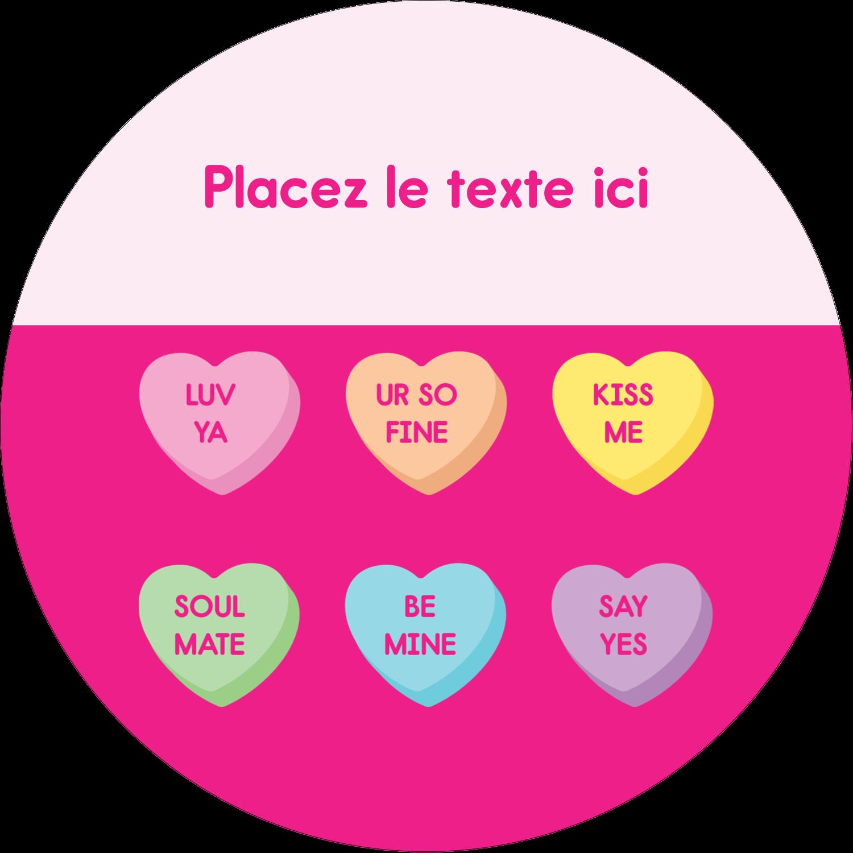 """3"""" x 2¼"""" Étiquettes arrondies - Bonbon en cœur de Saint-Valentin"""