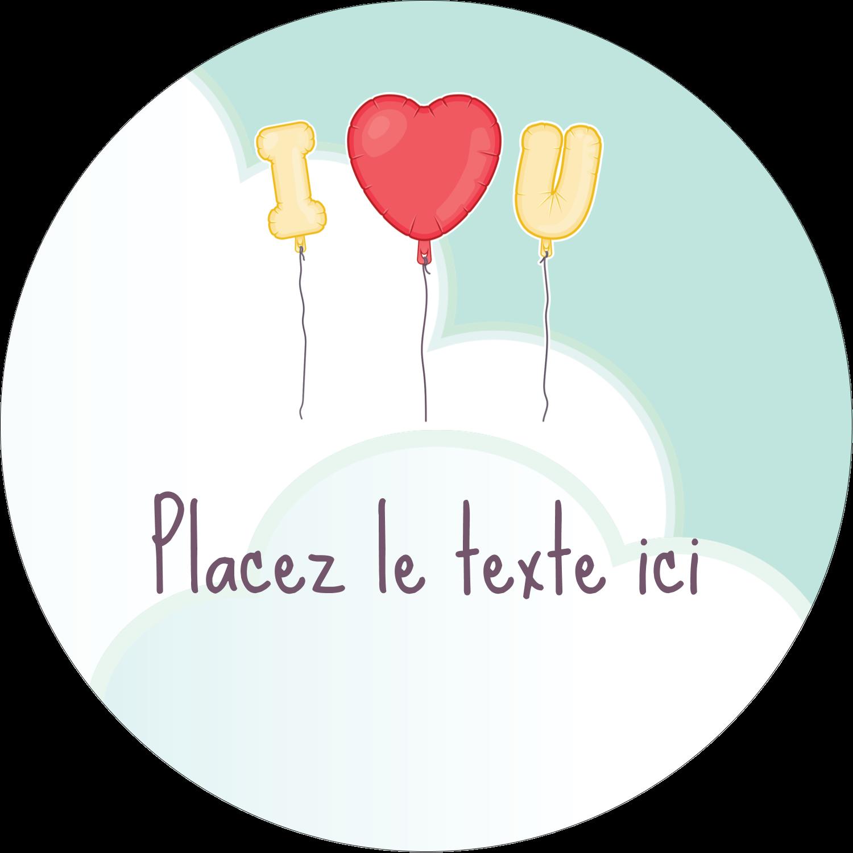 """3-7/16"""" x 15/16"""" Étiquettes de classement - Ballon d'amour de Saint-Valentin"""