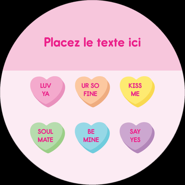 """3-7/16"""" x 15/16"""" Étiquettes de classement - Bonbon en cœur de Saint-Valentin"""