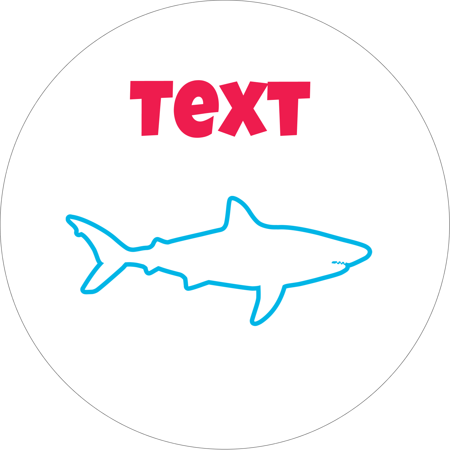 "2"" Embossed Round Label - Blue Sharks"