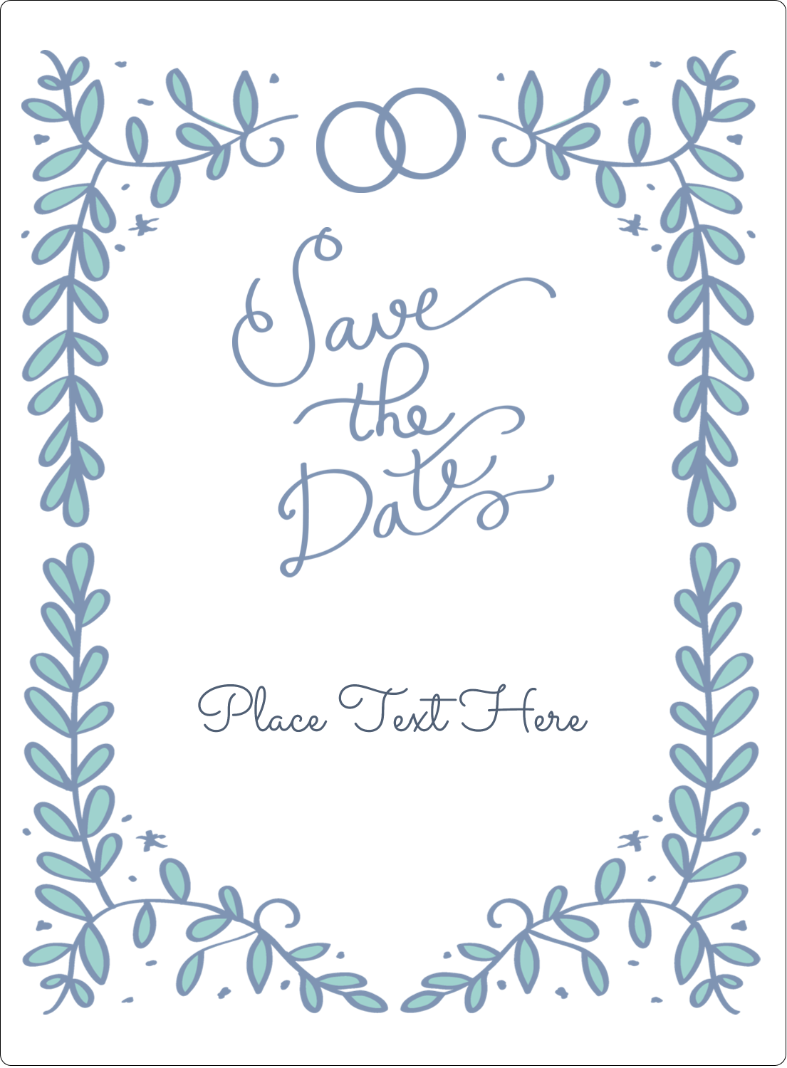 "4¾"" x 3½"" Rectangular Label - Save the Date Blue"