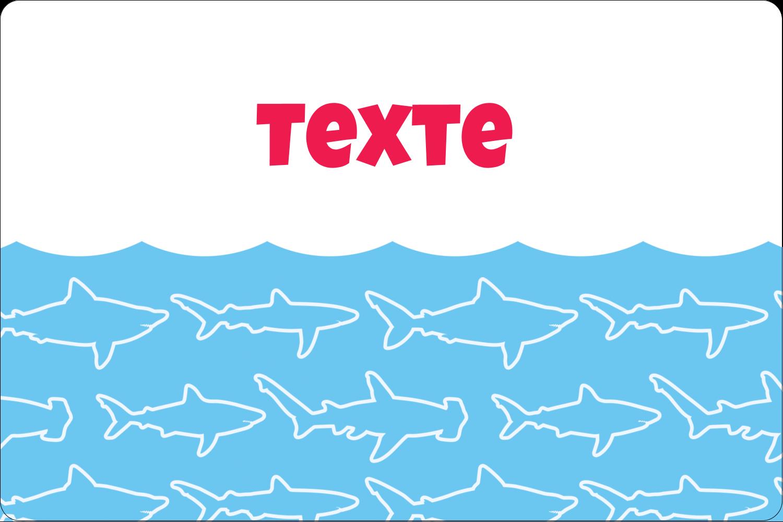 """3"""" x 3¾"""" Étiquettes rectangulaires - Requins bleus"""