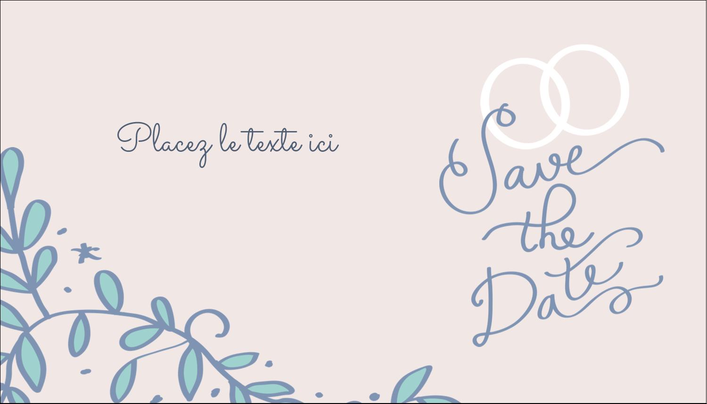 """3½"""" x 2"""" Carte d'affaire - Réservez la date bleu"""