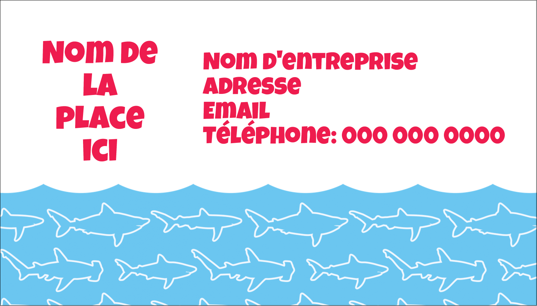 """3½"""" x 2"""" Carte d'affaire - Requins bleus"""