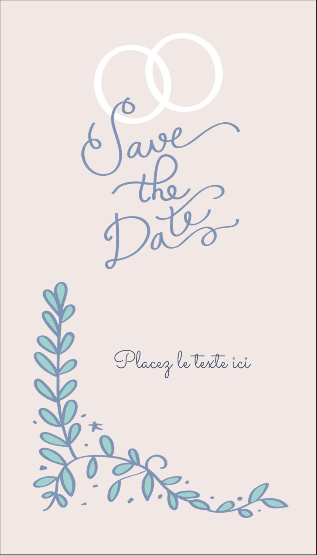 """2"""" x 3½"""" Carte d'affaire - Réservez la date bleu"""