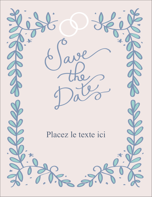 """5½"""" x 4¼"""" Carte Postale - Réservez la date bleu"""