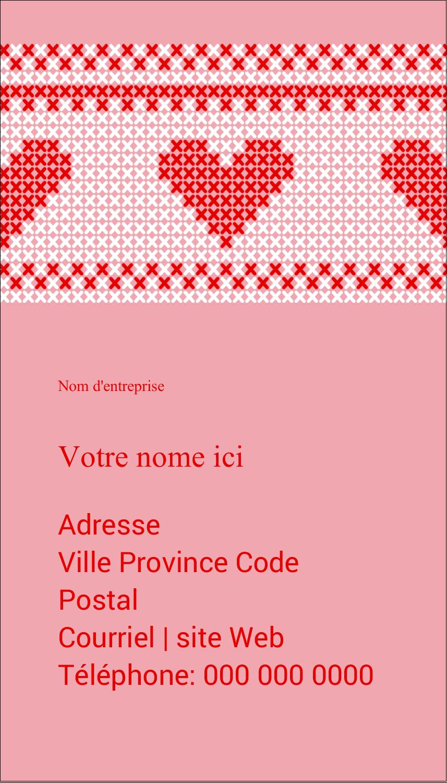 """3½"""" x 2"""" Carte d'affaire - Saint-Valentin en point de croix"""