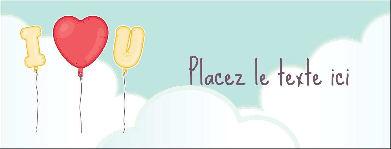 """1-7/16"""" x 3¾"""" Affichette - Ballon d'amour de Saint-Valentin"""