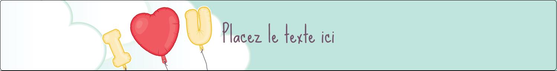"""1½"""" x 2½"""" Étiquettes ovales - Ballon d'amour de Saint-Valentin"""