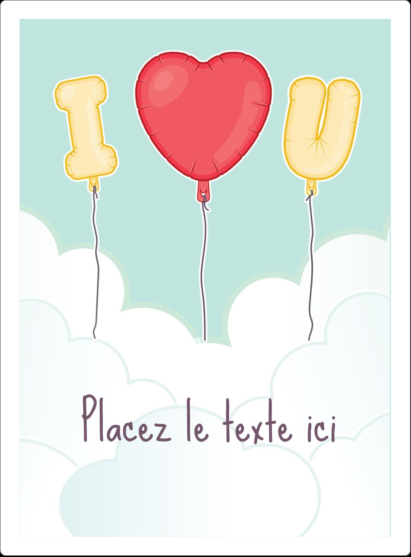 """2½"""" Diameter Étiquettes rondes - Ballon d'amour de Saint-Valentin"""