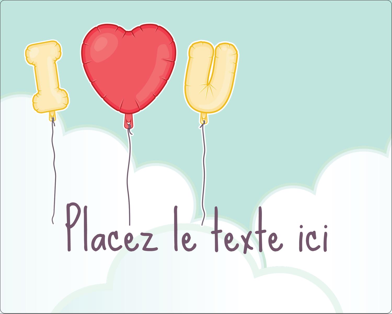 """2"""" Diameter Étiquettes rondes gaufrées - Ballon d'amour de Saint-Valentin"""