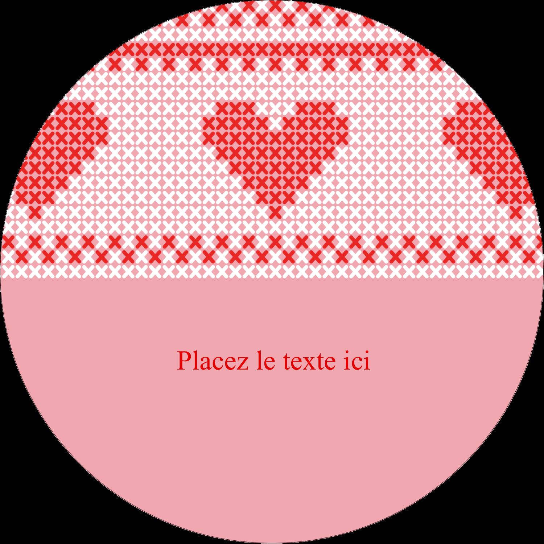 """3"""" Diameter Étiquettes rondes - Saint-Valentin en point de croix"""